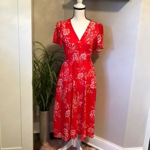 Red & White Button Up Midi Dress